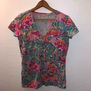 Lilly Pulitzer Flamingo Tee Shirt Size Small